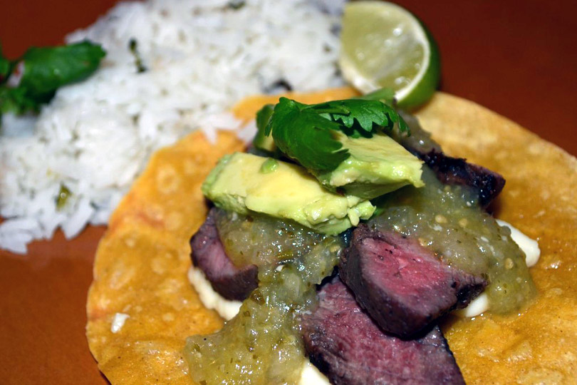 Grilled Steak Tacos with Tomatillo Salsa and Cilantro Rice