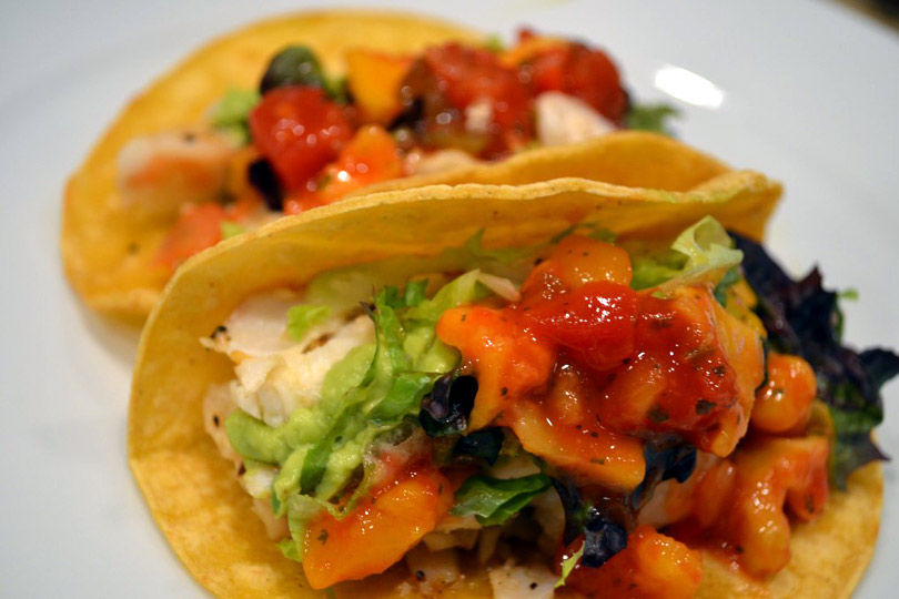 Gluten free fish tacos with mango salsa and avocado cream for Side dishes for fish tacos